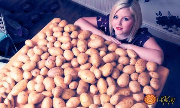 Гора сырой картошки
