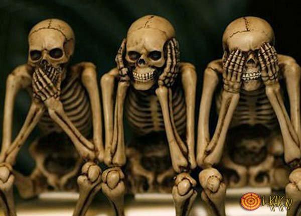 Три скелета - не вижу, не слышу, не скажу