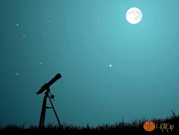 Телескоп смотрит на луну