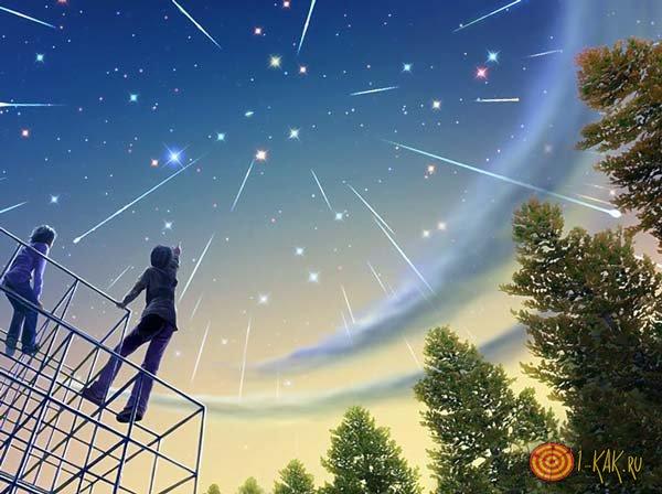 Мерцающие звезды в лесу