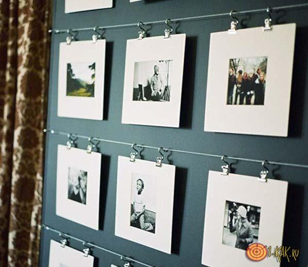 Фотографии в доме на стене