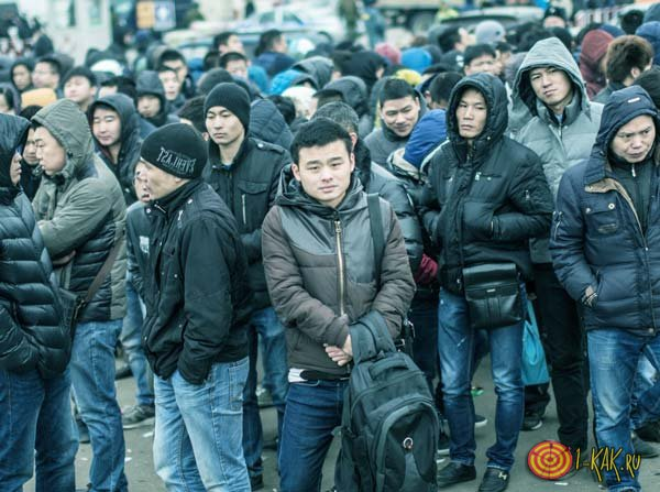 Толпа мигрантов пытается получить паспорт
