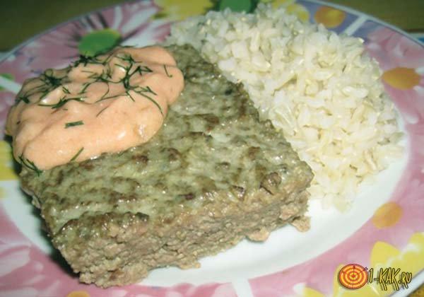 Мясное суфле с гарниром