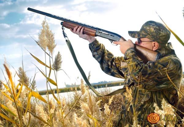 Охотник стреляет в дичь
