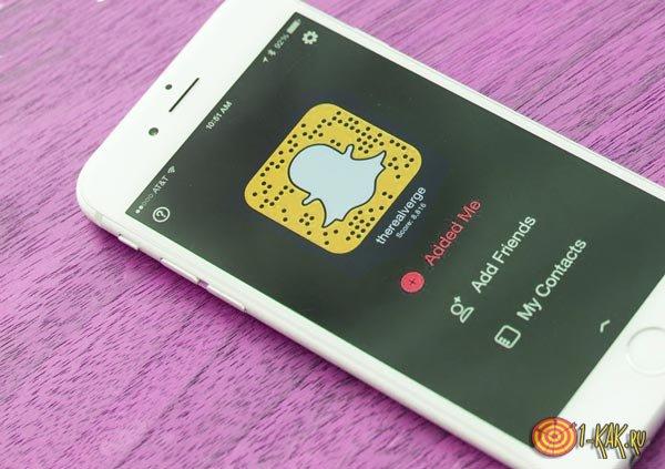 Приложение Snapchat на телефоне Айфон 6
