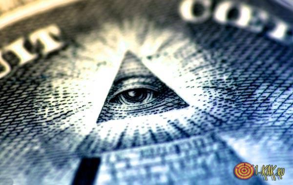 Всевидящее око в треугольнике на долларах