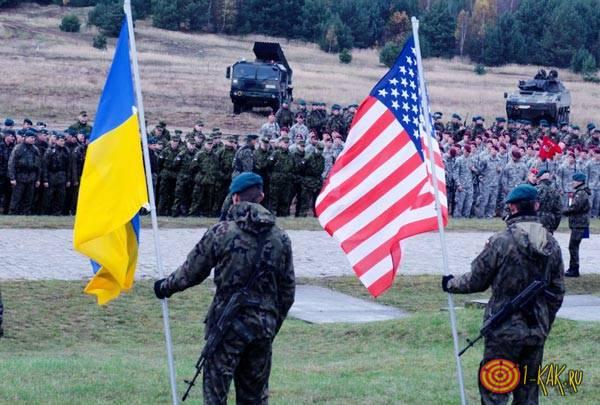 Украинские солдаты на учении