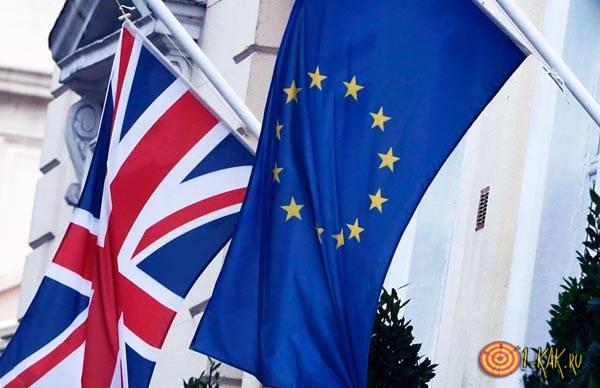 Флаг Британии и ЕС